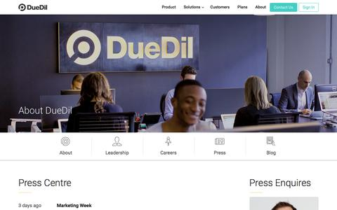 Screenshot of Press Page duedil.com - Press  | DueDil - captured June 19, 2016