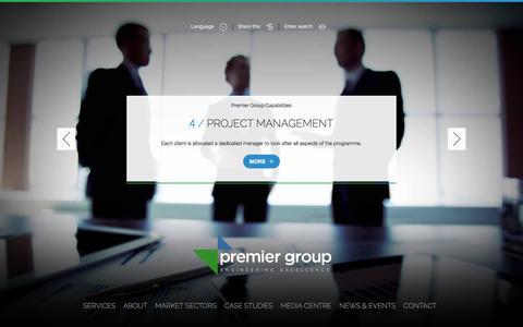 Screenshot of Home Page premier-group.co - Premier Group - captured Jan. 30, 2016