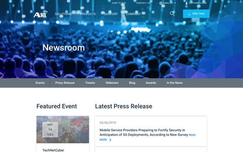 Screenshot of Press Page a10networks.com - Newsroom | A10 Networks - captured May 22, 2019