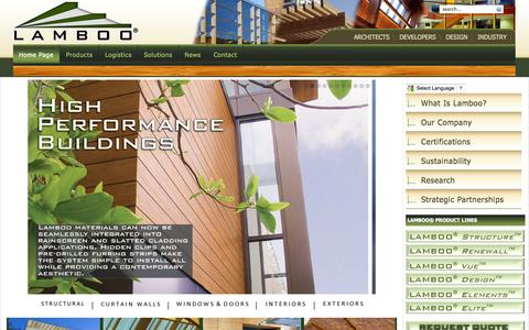 Screenshot of Home Page lamboo.us - Lamboo, Inc - Structural Engineered Bamboo Beams & Performance Components - captured Oct. 1, 2014