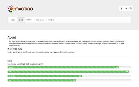 Screenshot of About Page mactino.com - mactino » About - captured Sept. 30, 2014