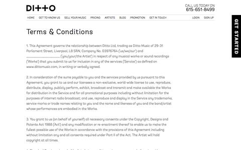 Screenshot of Terms Page dittomusic.com - Terms & Conditions | Ditto Music - captured Oct. 29, 2014