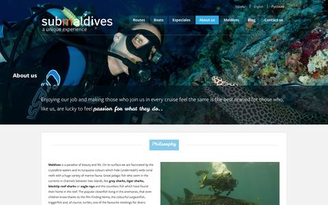 Screenshot of About Page submaldives.com - Submaldives NosotrosAbout usО нас - Submaldives - captured Oct. 6, 2014
