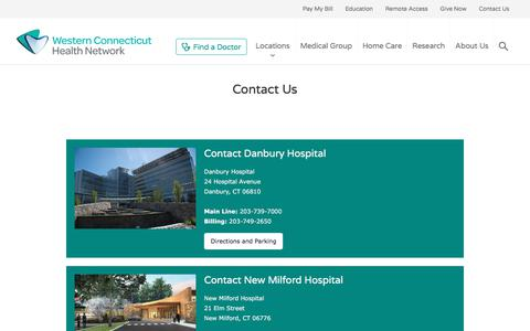 Screenshot of Contact Page westernconnecticuthealthnetwork.org - Contact Us | Western Connecticut Health Network - captured Jan. 6, 2018