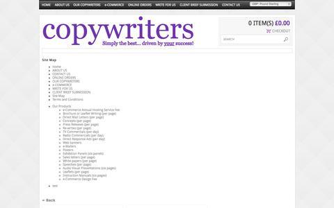Screenshot of Site Map Page copywritersukltd.com - Sitemap - captured Sept. 26, 2014