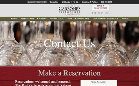 Screenshot of Contact Page carbonesct.com - Contact Us | Carbone's Ristorante - captured Oct. 22, 2014