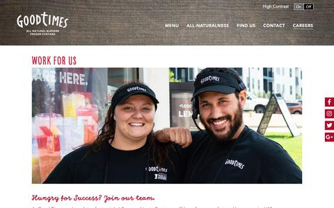 Screenshot of Jobs Page goodtimesburgers.com - Work For Us - Good Times Burgers - captured Sept. 29, 2018