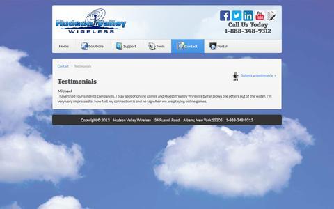 Screenshot of Testimonials Page hvwisp.com - Testimonials - captured Oct. 3, 2014