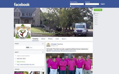 Screenshot of Facebook Page facebook.com - Schneider Tree Care - Taylors, SC - Landscaping   Facebook - captured Oct. 23, 2014