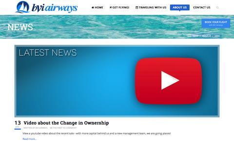 Screenshot of Press Page gobvi.com - BVI Airways - NEWS - captured Oct. 5, 2014