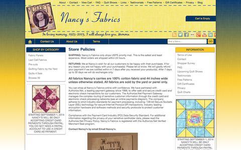 Screenshot of Terms Page nancysfabrics.com - Terms | Nancy's Fabrics - captured Oct. 7, 2014