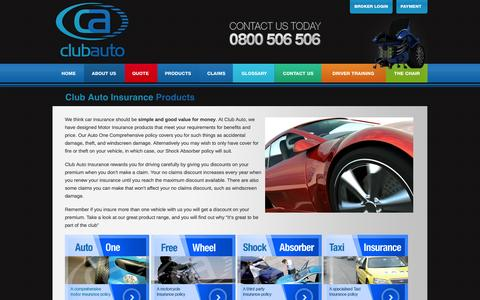 Screenshot of Products Page clubauto.co.nz - Club Auto Insurance products include, Vehicle Insurance, Third Party Insurance, Motorbike Insurance - captured Oct. 2, 2014