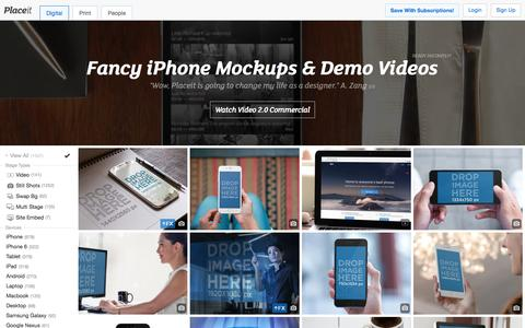 Screenshot of Home Page placeit.net - Free iPhone Mockup Generator & App Demo Videos by Placeit - captured Nov. 3, 2015