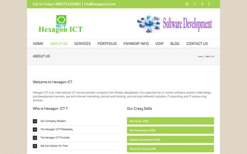 Screenshot of About Page hexagonict.com - Hexagon ICT ABOUT US - Hexagon ICT - captured Sept. 30, 2014