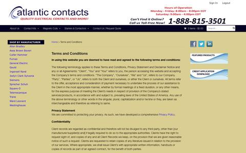 Screenshot of Terms Page atlanticcontacts.com - Terms and Conditions | Atlantic Contacts - captured May 31, 2017