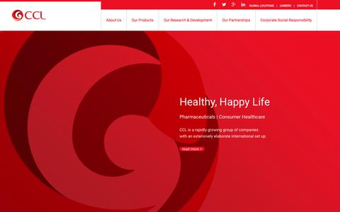 Screenshot of Home Page cclpharma.com - CCL Pharmaceuticals - Healthy, Happy Life - captured Oct. 5, 2016