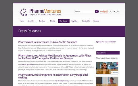 Screenshot of Press Page pharmaventures.com - Press Releases   www.pharmaventures.com - captured Sept. 29, 2014