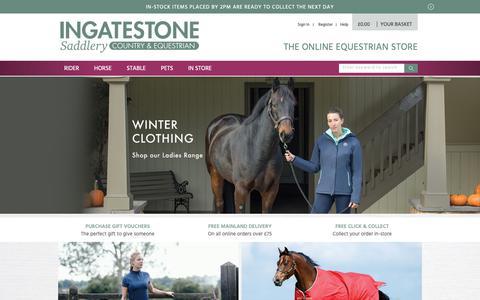 Screenshot of Home Page ingatestonesaddlery.co.uk - Ingatestone Saddlery Centre   Horse Wear   Rugs   Riding Hats   Saddles - captured Nov. 14, 2018