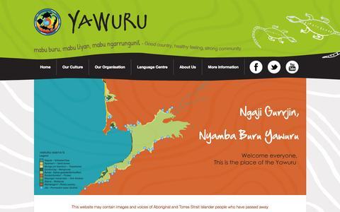 Screenshot of Home Page yawuru.com - Yawuru | Native title holders of the Western Australian town of BroomeYawuru | Native title holders of the Western Australian town of Broome - captured Oct. 9, 2015