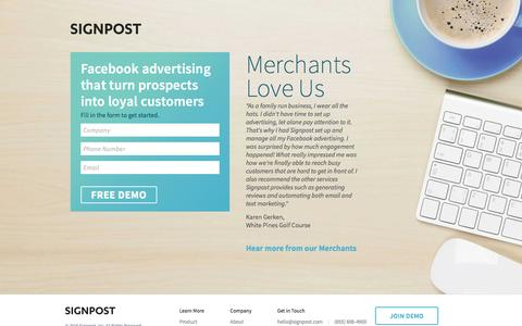 Screenshot of Landing Page signpost.com - Signpost Facebook Advertising - captured Oct. 12, 2016