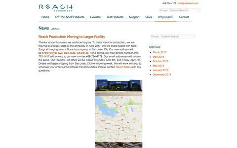 Screenshot of Press Page reachtech.com - Reach Technology News | Reach Technology - captured July 14, 2017