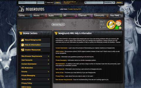 Screenshot of Support Page newgrounds.com - Newgrounds Wiki - Help & Information - captured Oct. 29, 2014