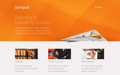 Screenshot of Services Page jamesgood.co.uk - Branding & Marketing Services – James Good - captured Aug. 7, 2016