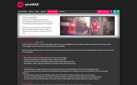 Screenshot of Signup Page wirewax.com - wireWAX - interactive video tool - captured Sept. 17, 2014