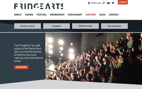 Screenshot of Support Page fringearts.com - Support – Fringe Arts - captured March 1, 2016