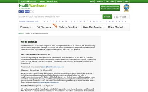 Screenshot of Jobs Page healthwarehouse.com - Careers At HealthWarehouse.com - HealthWarehouse.com - captured Sept. 16, 2014