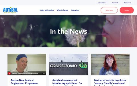 Screenshot of Press Page autismnz.org.nz - Autism NZ | In the News - captured Oct. 4, 2018