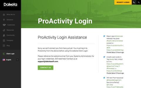 Screenshot of Login Page dakotasoft.com - ProActivity Login | Dakota Software for Environmental Health & Safety Compliance - captured Feb. 8, 2016