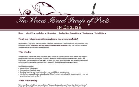 Screenshot of Home Page voicesisrael.com - Voices Israel Group of Poets in English - captured Nov. 28, 2018