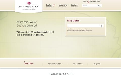 Screenshot of Locations Page marshfieldclinic.org - Locations - captured Oct. 27, 2014