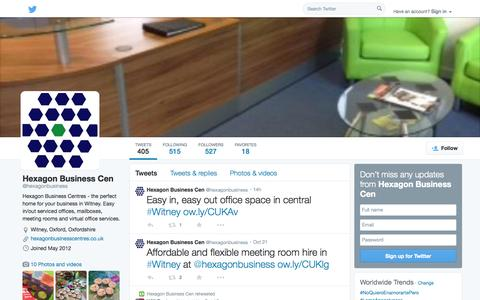 Screenshot of Twitter Page twitter.com - Hexagon Business Cen (@hexagonbusiness) | Twitter - captured Oct. 23, 2014