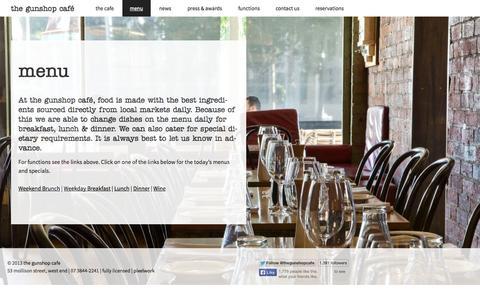 Screenshot of Menu Page thegunshopcafe.com - menu | the gunshop café - captured Oct. 7, 2014