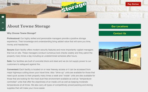 Screenshot of About Page townestorage.com - Towne Storage | About Us - captured Nov. 8, 2017