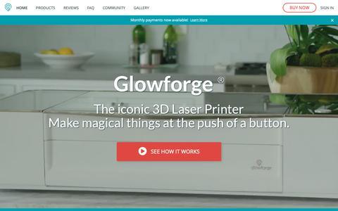 Screenshot of Home Page glowforge.com - Glowforge - the 3D laser printer | Glowforge - captured March 13, 2019