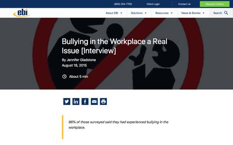 Screenshot of Blog ebiinc.com - Bullying in the Workplace a Real Issue [Interview] - captured Dec. 5, 2019