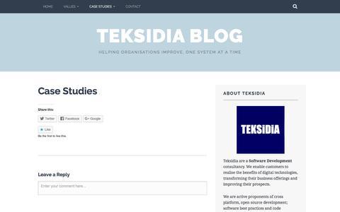 Screenshot of Case Studies Page teksidia.com - Case Studies – Teksidia Blog - captured Nov. 29, 2016