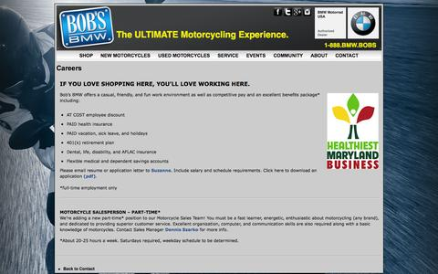 Screenshot of Jobs Page bobsbmw.com - Motorcycle Jobs Maryland   Bob's BMW Service Center & Sales Jobs MD - captured Oct. 5, 2014