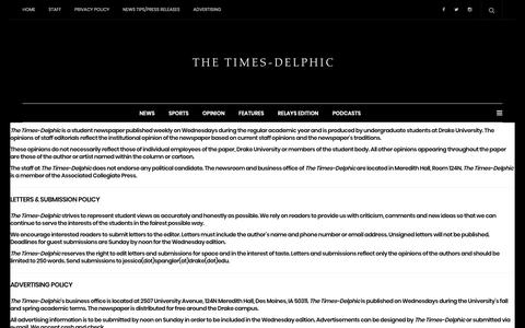 Screenshot of About Page timesdelphic.com - About – The Times-Delphic - captured Nov. 19, 2018