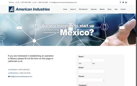 Screenshot of Contact Page americanindustriesgroup.com - American Industries – Start manufacturing in Mexico | American Industries - captured July 30, 2018