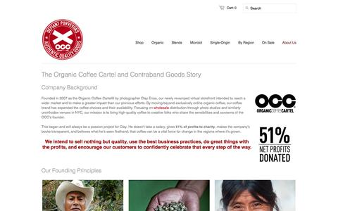 Screenshot of About Page organiccoffee.com - Organic Coffee Cartel - Happy, Independent, Uncompromising Coffee Roasters since 2007 - captured Oct. 7, 2014