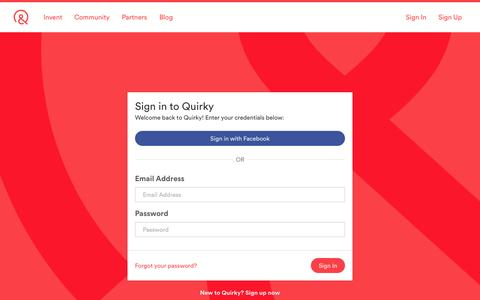 Screenshot of Login Page quirky.com - Sign in | Quirky - captured Nov. 5, 2015