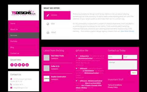 Screenshot of Services Page tsdesigns.co.uk - Design Agency - TS Designs - Design | Web | Print || London - captured Feb. 17, 2016