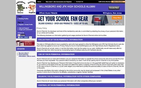 Screenshot of Privacy Page willingboroalumni.org - Willingboro and JFK High Schools Alumni - Privacy Policy - captured March 4, 2016