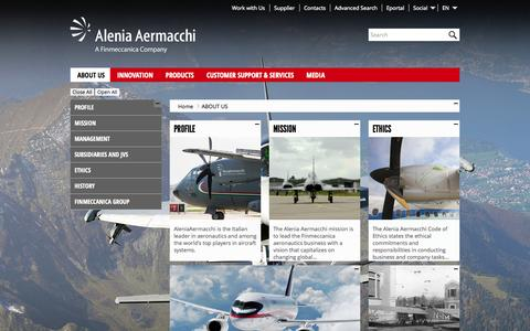 Screenshot of About Page aleniaaermacchi.it - About us - Alenia Aermacchi - captured Oct. 4, 2014