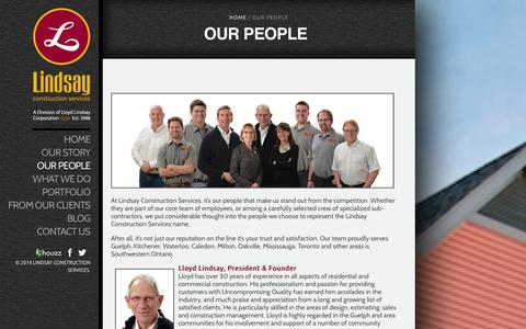 Screenshot of Team Page lindsaycorp.ca - Our People | Lindsay - captured Oct. 1, 2014