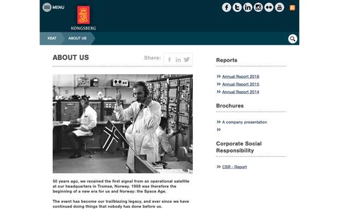 Screenshot of About Page ksat.no - ABOUT US - Kongsberg Gruppen - captured Oct. 16, 2018